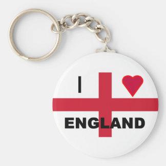 I Love England Basic Round Button Key Ring