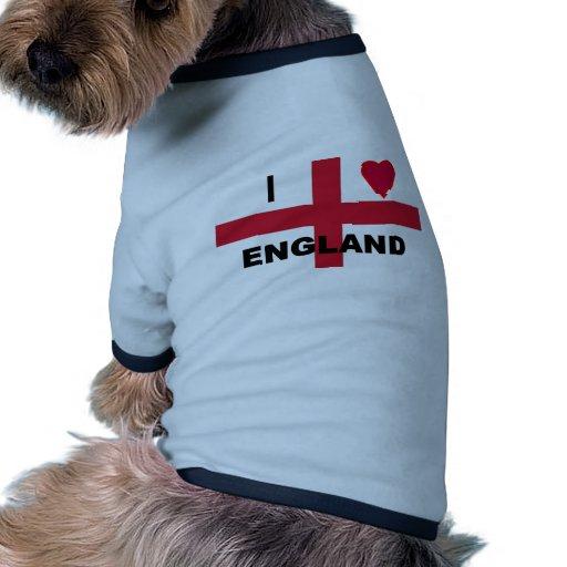 I Love England Dog T Shirt