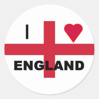 I Love England Round Sticker