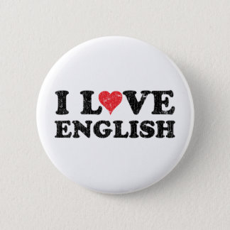 I Love English 6 Cm Round Badge