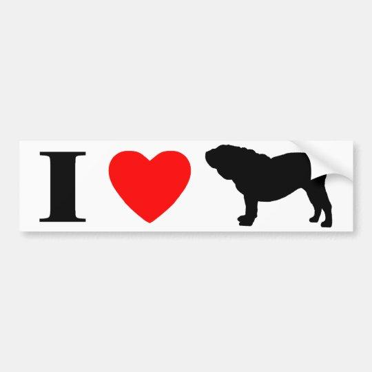 I Love English Bulldogs Bumper Sticker