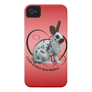 I Love English Rabbits iPhone 4 Case (Pink/Red)