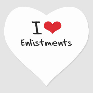 I love Enlistments Heart Stickers