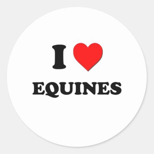 I love Equines Round Stickers