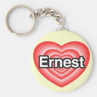 I love Ernest. I love you Ernest. Heart Basic Round Button Key Ring
