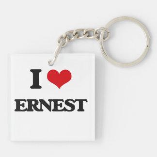 I Love Ernest Double-Sided Square Acrylic Key Ring