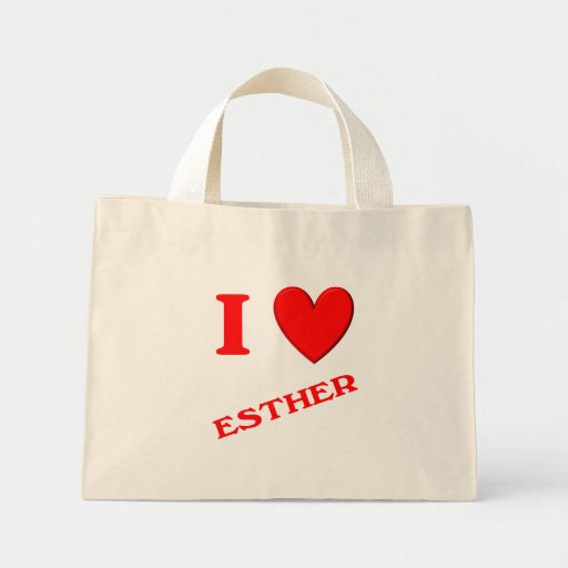 I Love Esther Tote Bags