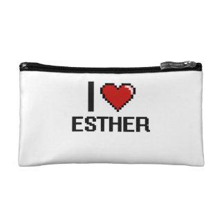 I Love Esther Digital Retro Design Cosmetic Bags