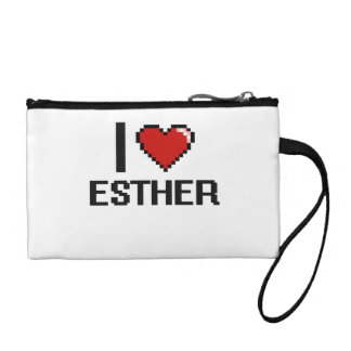 I Love Esther Digital Retro Design Change Purse