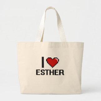 I Love Esther Digital Retro Design Jumbo Tote Bag