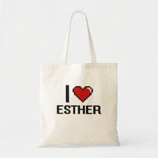 I Love Esther Digital Retro Design Budget Tote Bag