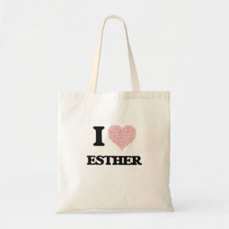 I love Esther (heart made from words) design Budget Tote Bag