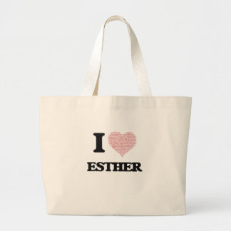 I love Esther (heart made from words) design Jumbo Tote Bag