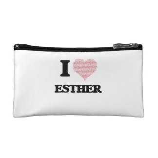 I love Esther (heart made from words) design Makeup Bags