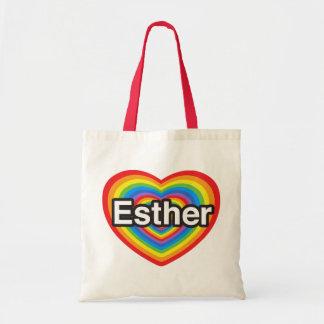 I love Esther. I love you Esther. Heart Budget Tote Bag