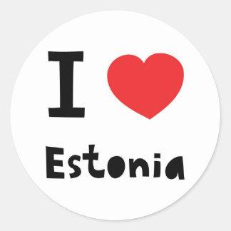 I love Estonia Classic Round Sticker