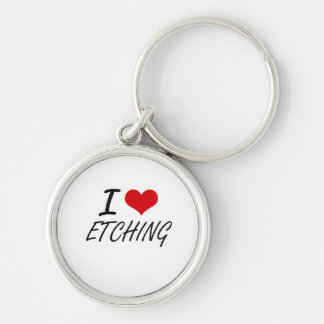 I love ETCHING Silver-Colored Round Key Ring