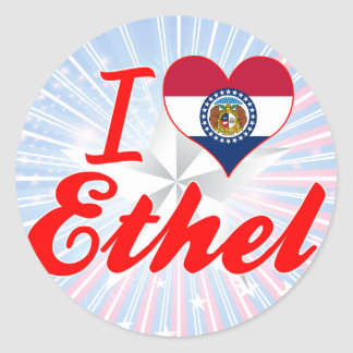 I Love Ethel Missouri Round Stickers