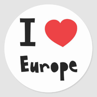 I love Europe Classic Round Sticker