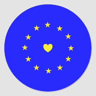 I Love Europe EU Flag with Heart Classic Round Sticker