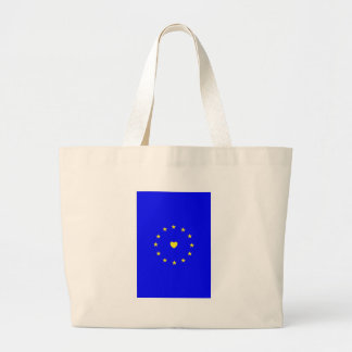 I Love Europe EU Flag with Heart Large Tote Bag