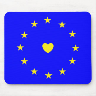 I Love Europe EU Flag with Heart Mouse Mat