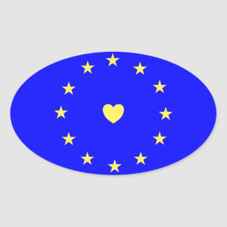 I Love Europe EU Flag with Heart Oval Sticker