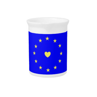 I Love Europe EU Flag with Heart Pitcher