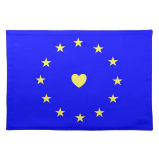 I Love Europe EU Flag with Heart Placemat