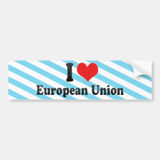 I Love European Union Bumper Sticker