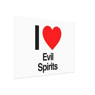 i love evil spirits stretched canvas prints