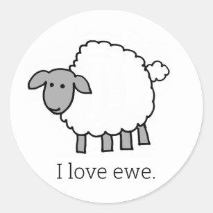 I Love Ewe Sheep Round Sticker