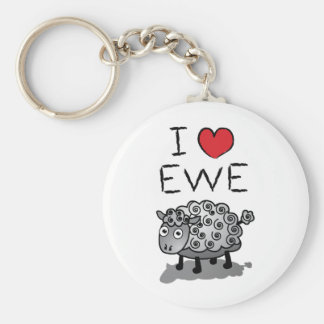I Love Ewe! Valentines Day Basic Round Button Key Ring