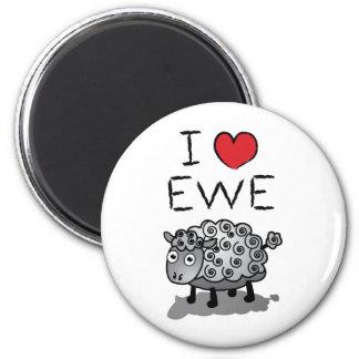 I Love Ewe! Valentines Day 6 Cm Round Magnet