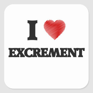 I love EXCREMENT Square Sticker
