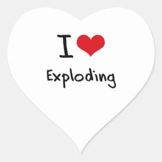I love Exploding Heart Sticker