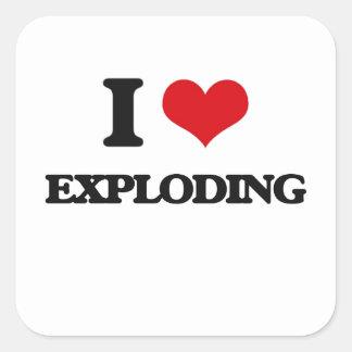I love EXPLODING Square Stickers