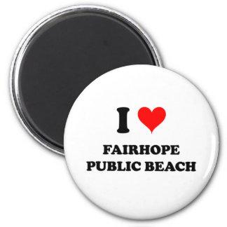 I Love Fairhope Public Beach 6 Cm Round Magnet