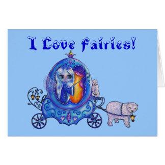 I Love Fairies Fairy Bubble Carriage Polar Bear Greeting Card