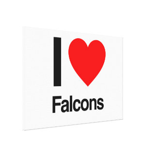 i love falcons stretched canvas print