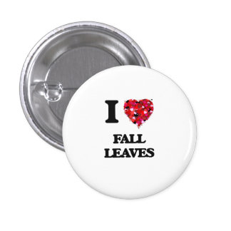 I Love Fall Leaves 3 Cm Round Badge