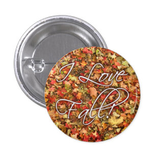 """I Love Fall"" Leaves Button"