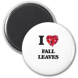 I Love Fall Leaves 6 Cm Round Magnet
