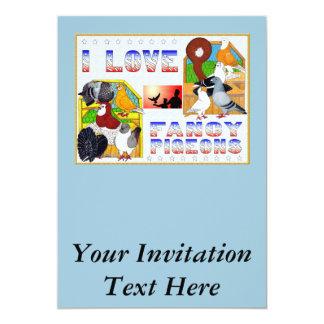 I Love Fancy Pigeons! 13 Cm X 18 Cm Invitation Card