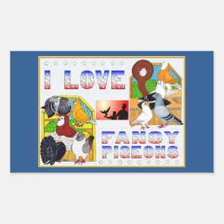 I Love Fancy Pigeons! Rectangular Sticker