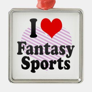 I love Fantasy Sports Silver-Colored Square Decoration