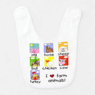 I Love Farm Animals Bib