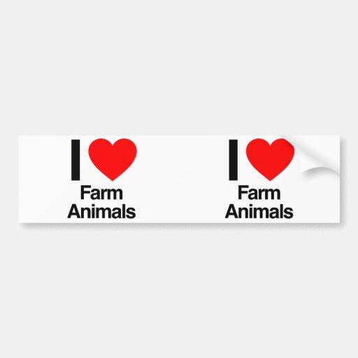 i love farm animals bumper sticker