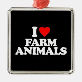 I LOVE FARM ANIMALS ORNAMENTS