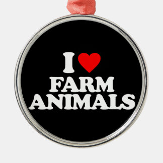 I LOVE FARM ANIMALS CHRISTMAS TREE ORNAMENTS